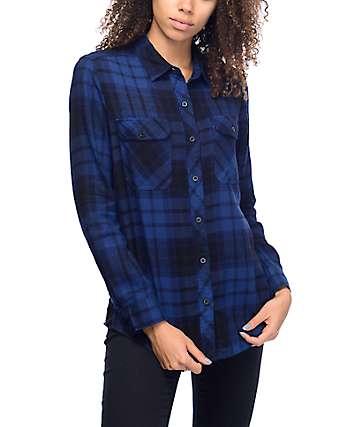Empyre Hadley camisa de franela en negro y azul marino