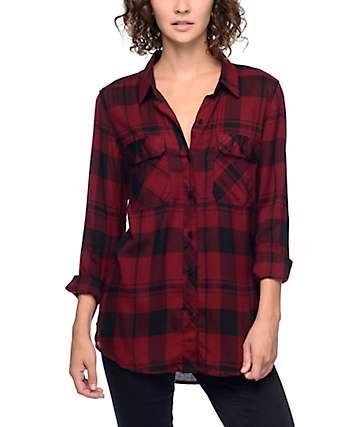 Empyre Hadley camisa tartán en rojo y negro