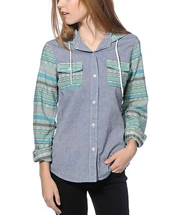 Empyre Hanover Jacquard Stripe Denim Hooded Shirt