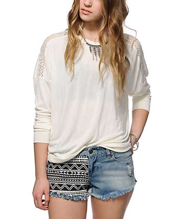 Empyre Harley Cream Lace Inset Dolman Top