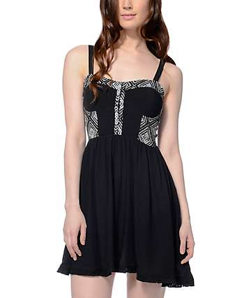 Empyre Harlyn Bodice With Pom Trim Black Dress