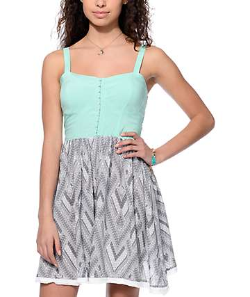 Empyre Harlyn Bodice with Pom Trim Mint Dress