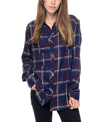 Empyre Havana Purple Plaid Flannel Shirt