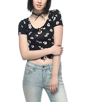Empyre Haven Tie Knot Black Floral Cropped T-Shirt