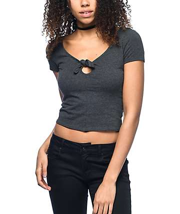 Empyre Haven Tie Knot Charcoal Cropped T-Shirt