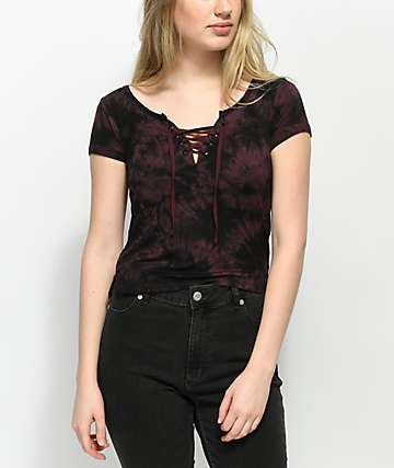 Empyre Hawn Black & Burgundy Tie Dye Lace Up T-Shirt
