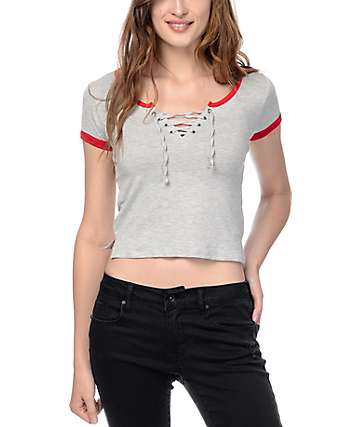 Empyre Hawn Lace Up Grey T-Shirt