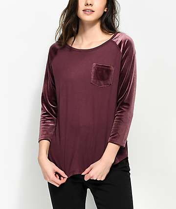 Empyre Hayden Berry Velvet Sleeve Baseball Shirt
