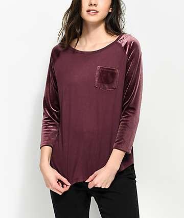 Empyre Hayden Berry Velvet Sleeve Baseball Shirt
