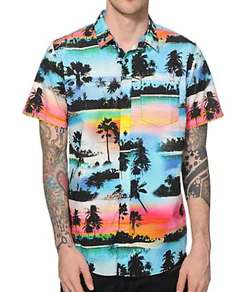 Empyre Heat Is On Tropical Button Up Shirt