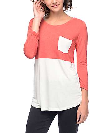 Empyre Helipop Red  & Cream Block Pocket Baseball T-Shirt
