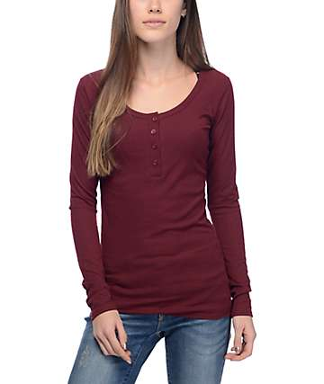 Empyre Helle Red Long Sleeve Henley Shirt