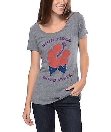 Empyre High Tides Good Vibes Scoop Neck Grey T-Shirt