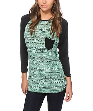 Empyre Indira Mint Tribal Baseball Tee