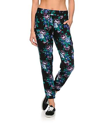Empyre Ines Purple Floral Woven Jogger Pants