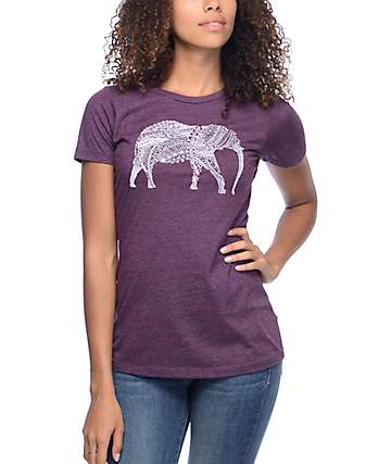 Empyre Intricate Elephant Burgundy T-Shirt
