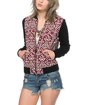 Empyre Izzy Burgundy Tribal Bomber Jacket