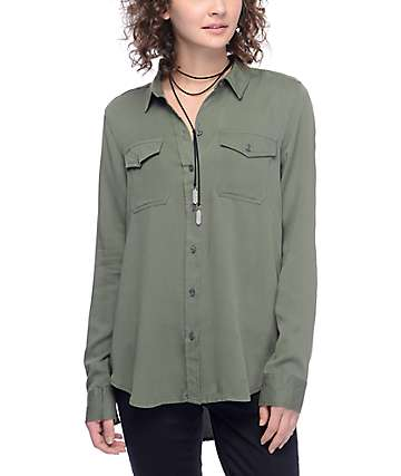 Empyre Jaimie Olive Button Up Shirt