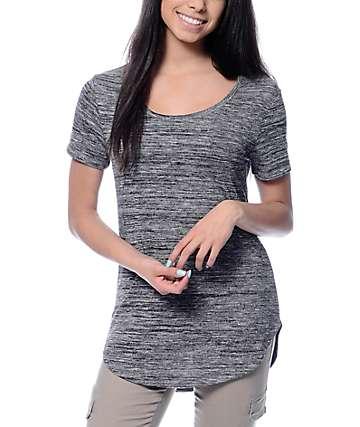 Empyre Jemma Slit Hacci Charcoal T-Shirt
