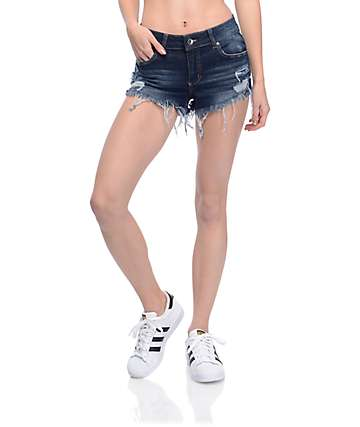 Empyre Jenna Dark Wash Distressed Shorts