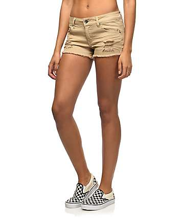 Empyre Jenna Khaki Destructed Shorts