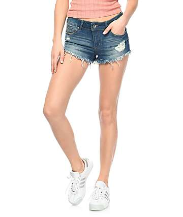 Empyre Jenna Med Wash Destructed Shorts