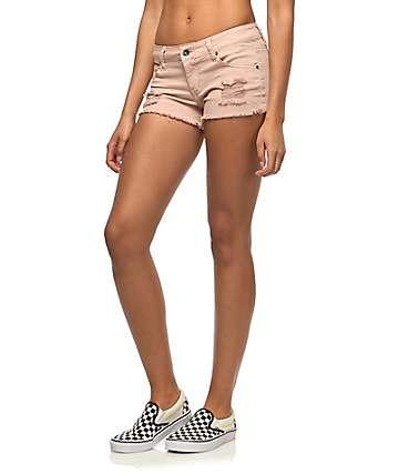 Empyre Jenna shorts rotos en rosa clara