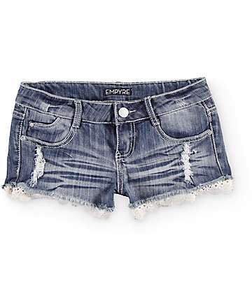 Empyre Jolie Crochet Hem Denim Shorts