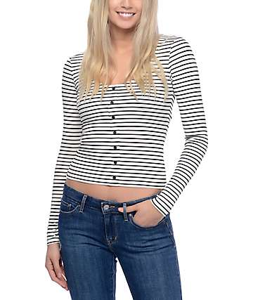 Empyre Jonna Black & White Stripe Long Sleeve Top