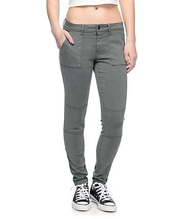 Empyre Jordyn Olive Sateen Seam Skinny Pants