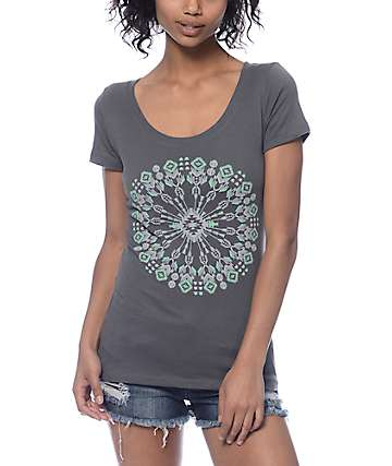 Empyre Kaleidoscope Scoop Neck Grey T-Shirt