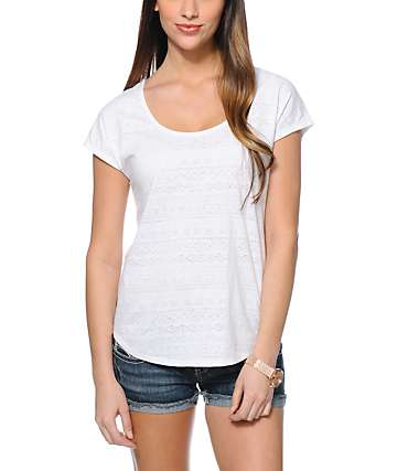 Empyre Kalia White Burnout Tribal Print Dolman T-Shirt