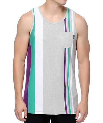 Empyre Keep It Real Grey, Purple, & Teal Stripe Tank Top