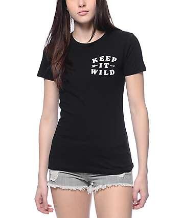 Empyre Keep It Wild Black Crew Neck T-Shirt
