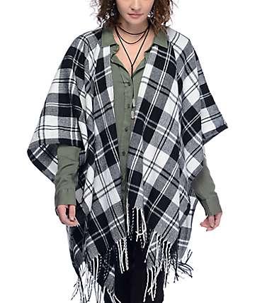 Empyre Kelley Black & White Plaid Kimono