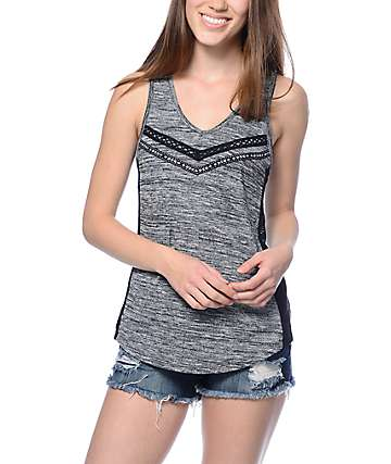 Empyre Kennedy Mesh Insert Charcoal Tank Top