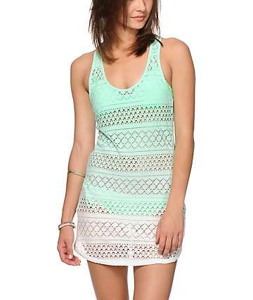 Empyre Kierra Mint Dip Dye Crochet Dress