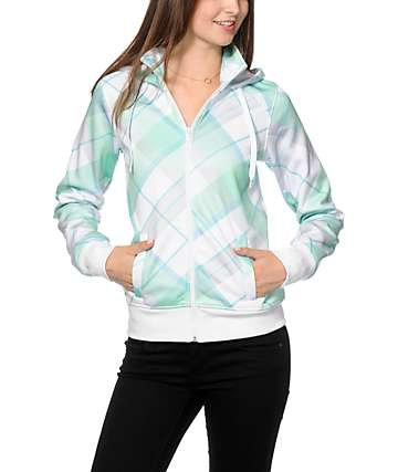 Empyre Kinnley Mint Plaid Tech Fleece Jacket