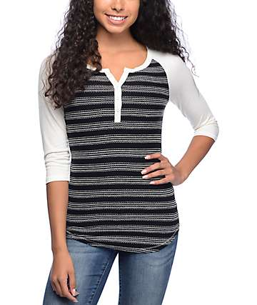 Empyre Knox Black & White Embroidery Stripe Henley Shirt
