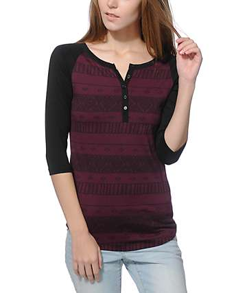 Empyre Knox Blackberry Tribal Stripe Henley Shirt