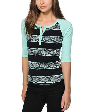 Empyre Knox Mint Jacquard Henley Shirt