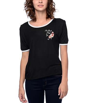 Empyre Knoxville Queen Rose Black Ringer T-Shirt