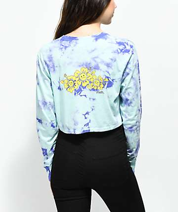 Empyre Kode Blue & Purple Tie Dye Crop Long Sleeve T-Shirt