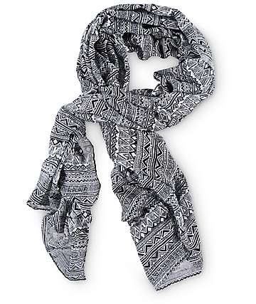 Empyre Kristen Black & White Tribal Oblong Scarf