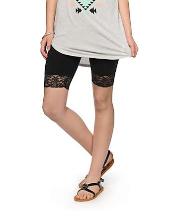 Empyre Lace Trim Black Bike Shorts