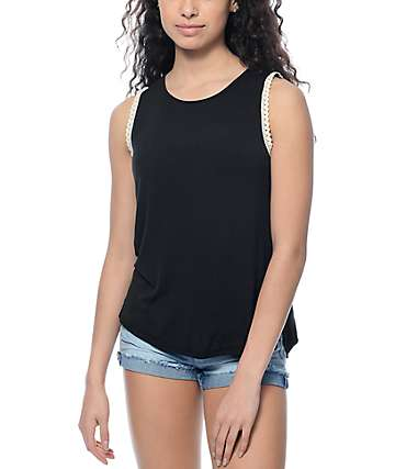 Empyre Lance Crochet Trim Black Tank Top