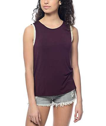 Empyre Lance Crochet Trim Blackberry Tank Top