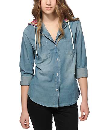 Empyre Lani Multi Stripe & Denim Hooded Shirt