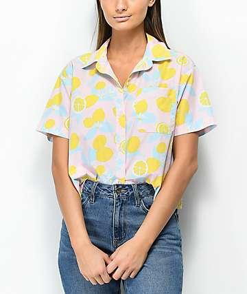 Empyre Lanikai Lemon Crop Short Sleeve Button Up Shirt