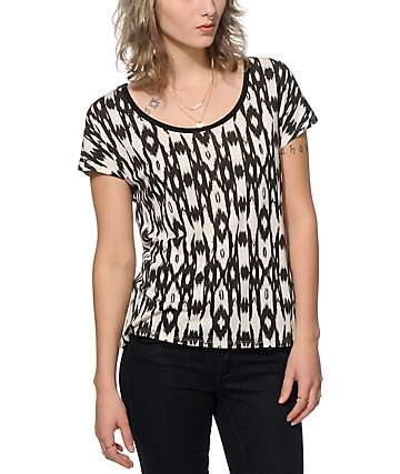 Empyre Lara Black Ikat Cage Back Dolman Top